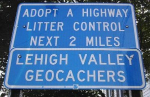Lehigh Valley Geocachers Adopt A Highway Sign